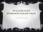 politik dan pemerintahan desa