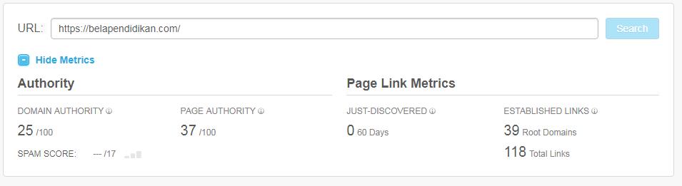 Domain authority dan Page authority belapendidikan.com