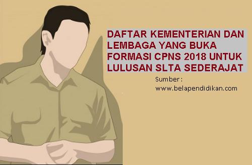 Lowongan CPNS 2018 untuk lulusan SMA dan SMK
