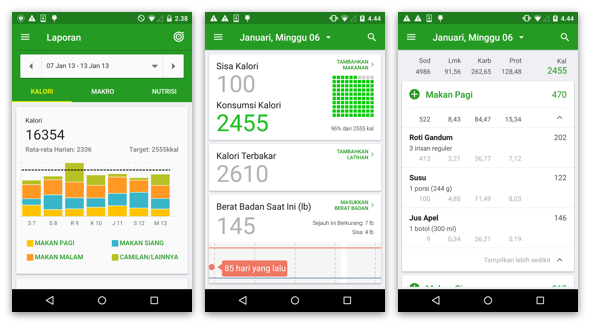 applikasi fatsecret calorie counter by google playstore