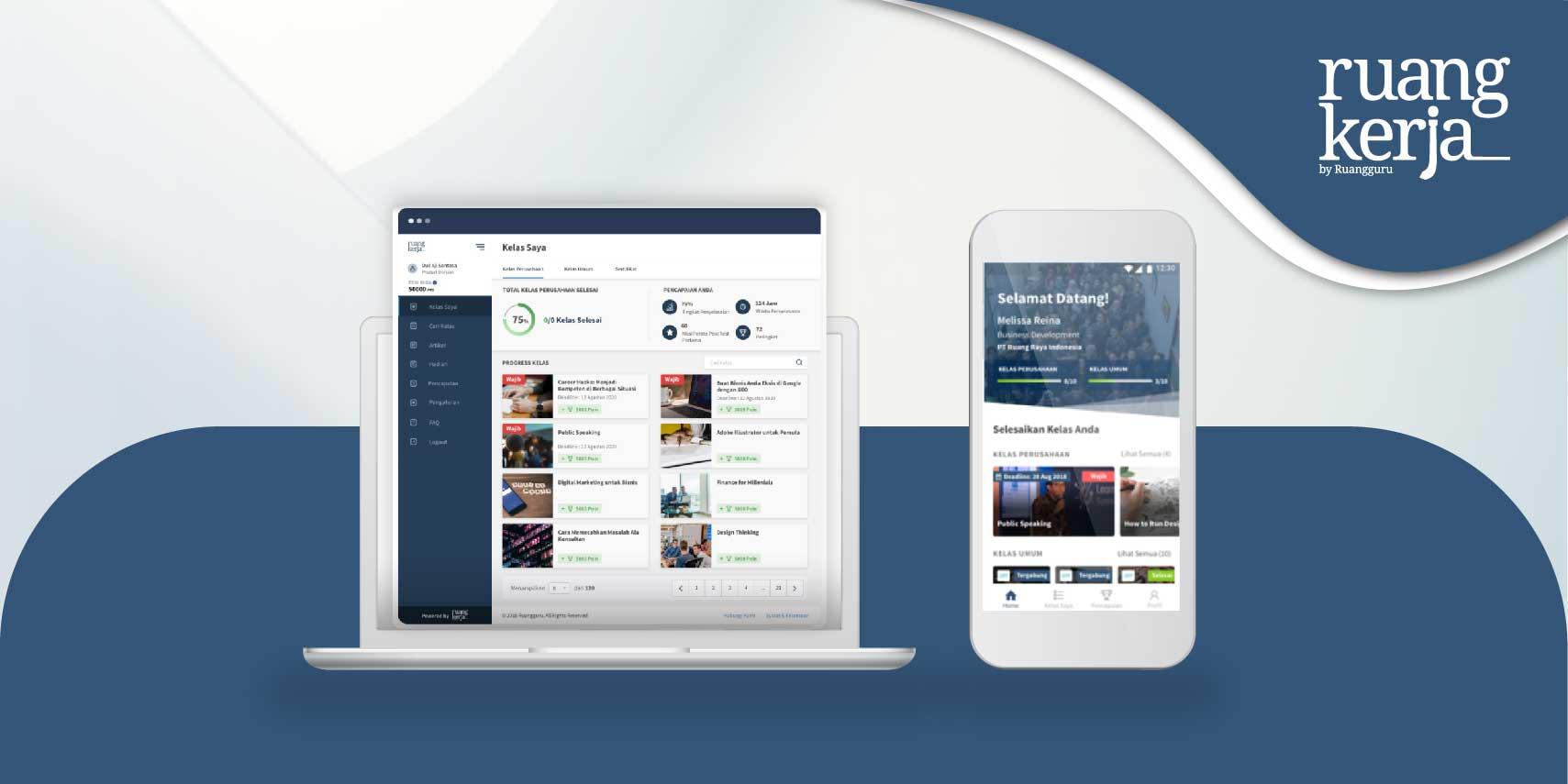 Tampilan dashboard ruang kerja pada pc dan handphone